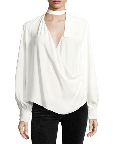 Lina Long-Sleeve Crossover Silk Blouse