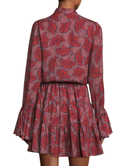 Elizavetta Long-Sleeve Printed Mini Dress