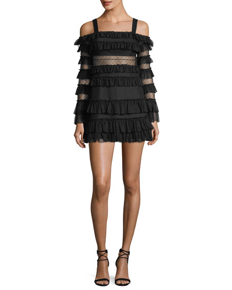 Brandi Off-the-Shoulder Tiered Ruffled Mini Dress