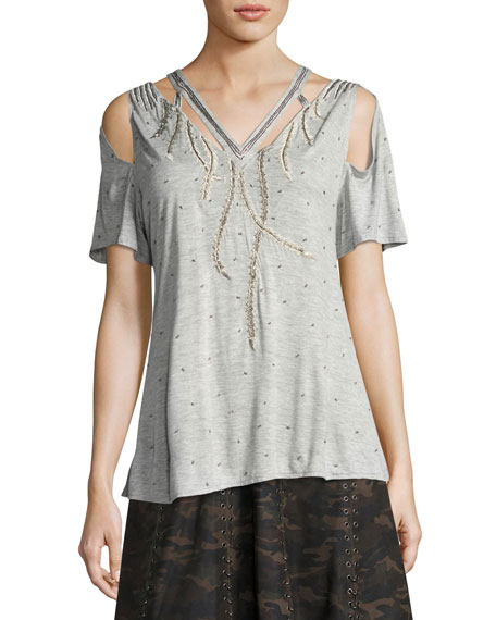 Fly High Cutout Embellished V-Neck Tee