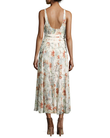 Heliopolis Sleeveless A-Line Floral-Print Dress w/ Corset