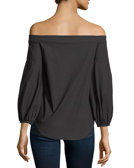 Madison Off-the-Shoulder Button-Front Poplin Top