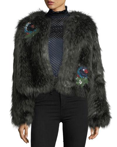 Faux-Fur Crop Jacket w/ Embellished Appliques