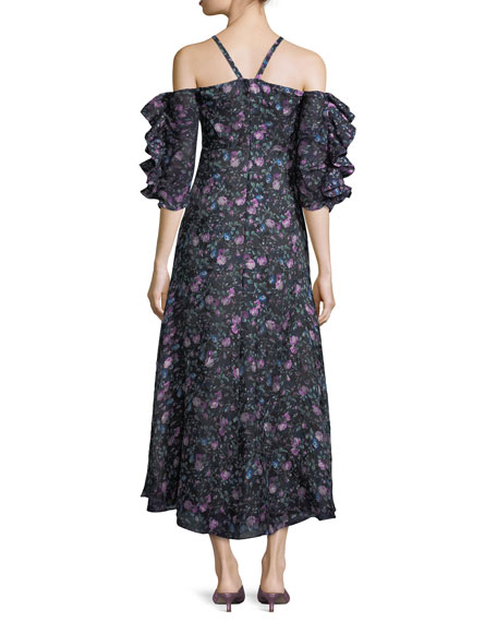 Open-Shoulder Floral-Print Organza Dress