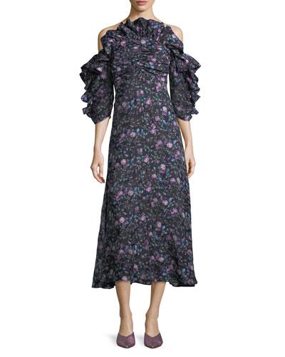 Open-Shoulder Floral-Print Organza Dress