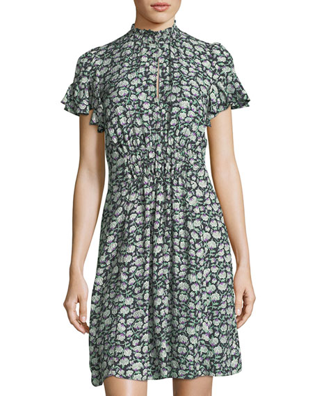 Capucine Mock-Neck Smocked Floral-Print Silk Dress