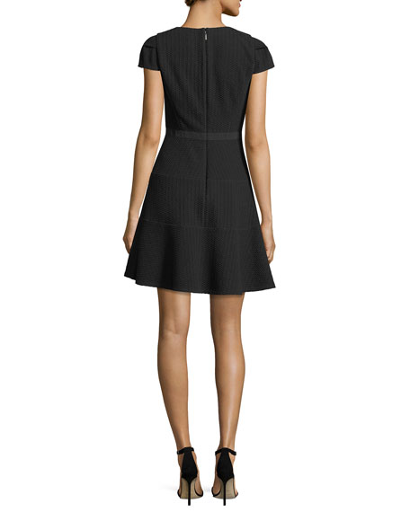 Split-Neck Cap-Sleeve Textured Day Dress