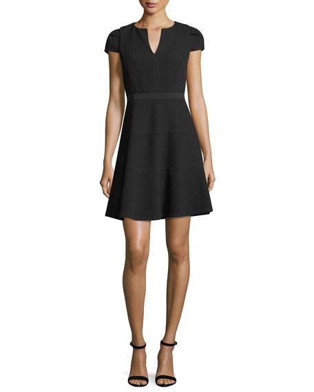 Split-Neck Cap-Sleeve Textured Day Dress