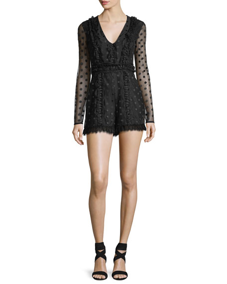 Samira V-Neck Dotted Illusion Lace Romper