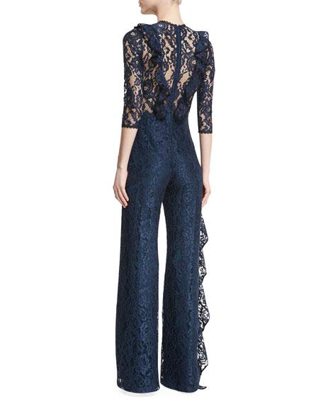Derica Wide-Leg Lace Jumpsuit w/ Ruffled Frills