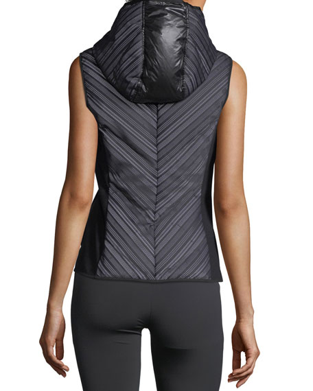 Chevron Reflective Mesh Hooded Zip-Front Vest