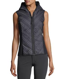 Chevron Reflective Mesh Hooded Zip-Front Vest