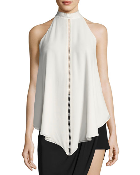 Naomi Mock-Neck Asymmetric Silk Blouse w/ Ladder-Stitching