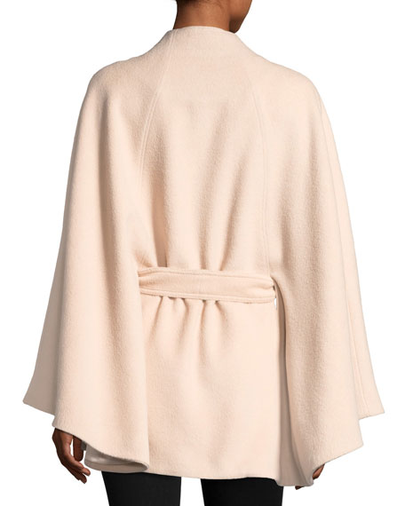 Stand Collar Button-Front Belted Cape, One Size