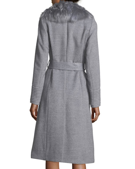 Belted Long Coat w/ Fur Collar