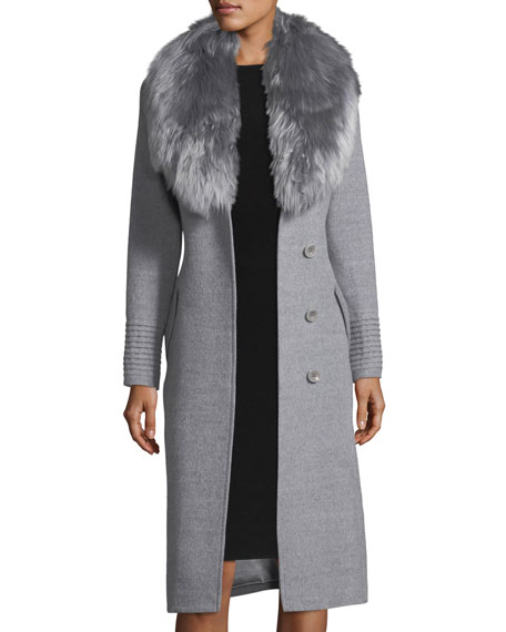 Belted Long Coat w/ Fur Collar