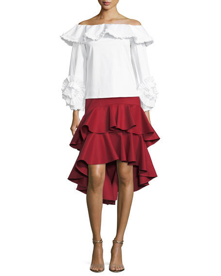 Kristyn High-Low Layered Ruffled Cotton Skirt