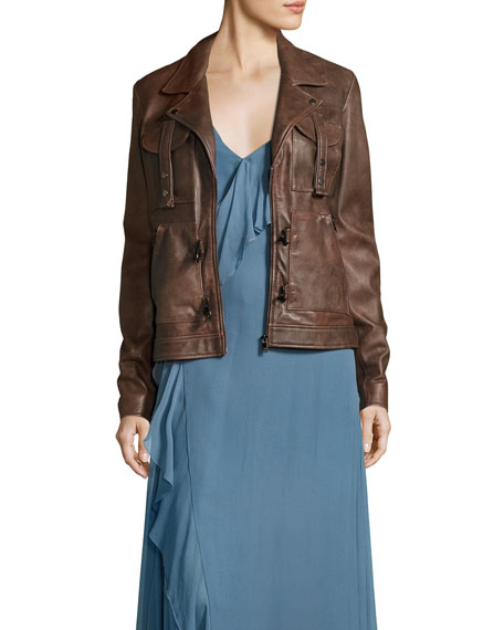 Blondie Open Lace-Back Leather Jacket