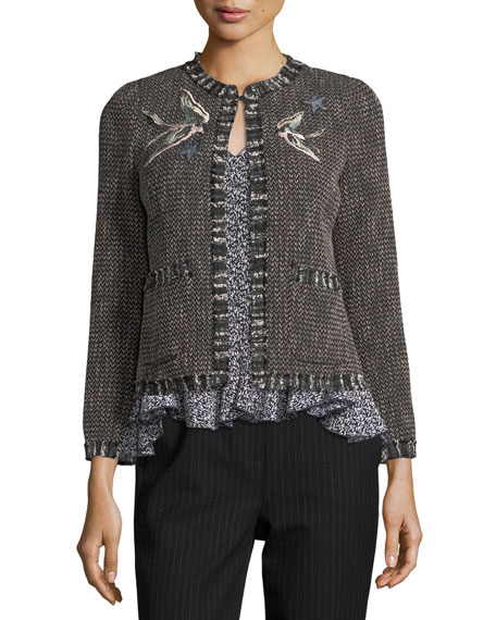 Open-Front Tweed Embroidered Jacket