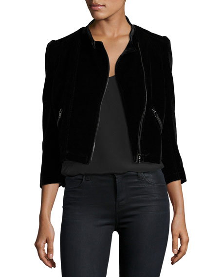Velvet Zip-Front Motorcycle Jacket