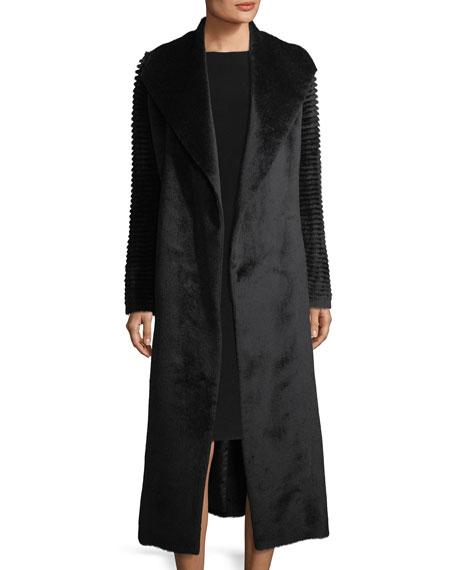 Long Wrap Alpaca-Blend Coat w/ Ribbed Sleeves