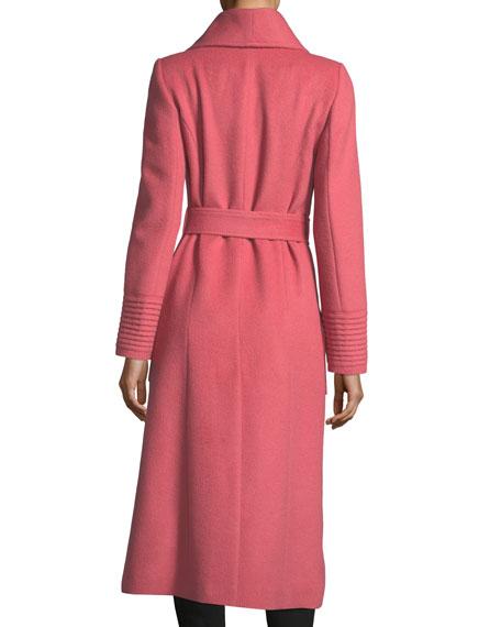 Long Wide-Collar Wrap Coat