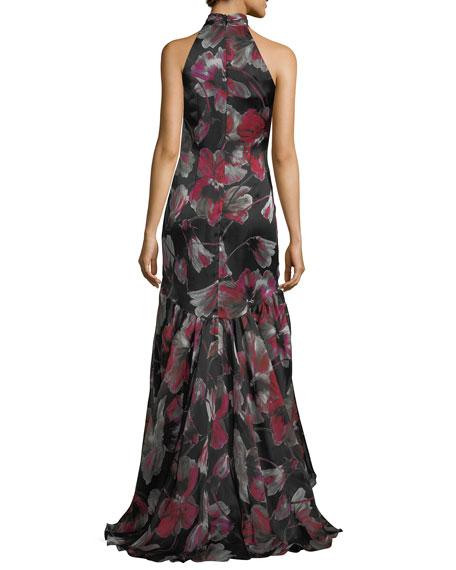 Floral-Print Halter Sleeveless  Evening Gown