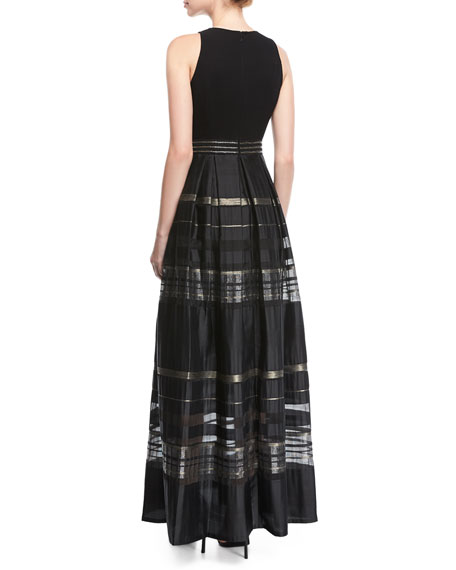 Crepe Cutaway Stripe Evening Gown