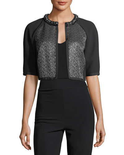 Cropped Metallic Tweed Cocktail Jacket