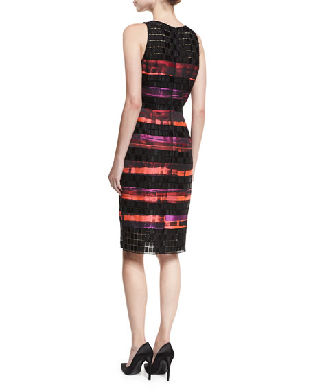 Sleeveless Sequined Lace Striped Cocktail Sheath Dress