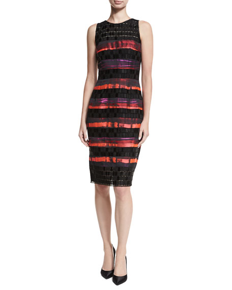 Carmen Marc Valvo Sleeveless Sequined Lace Striped Cocktail