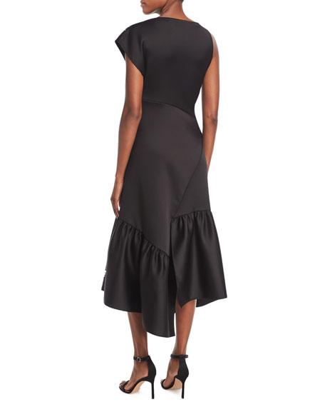 One-Shoulder Asymmetric Midi Cocktail Dress w/ Embellishment