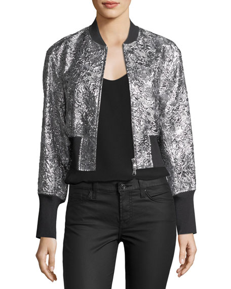Metallic Floral Burnout Bomber Jacket