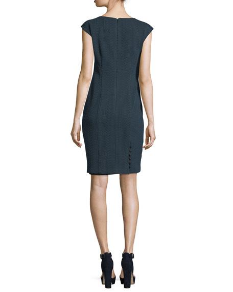 Sophia V-Neck Cap-Sleeve Textured Sheath Dress