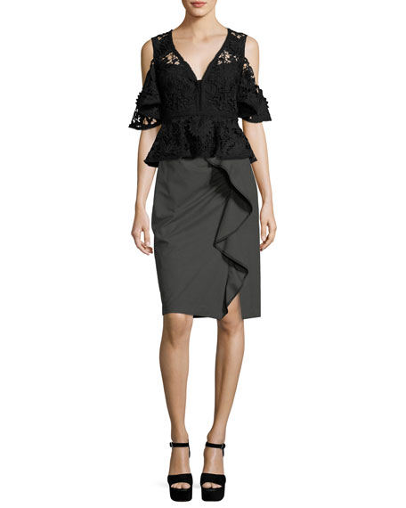 Carley Pencil Skirt w/ Ruffled Frill