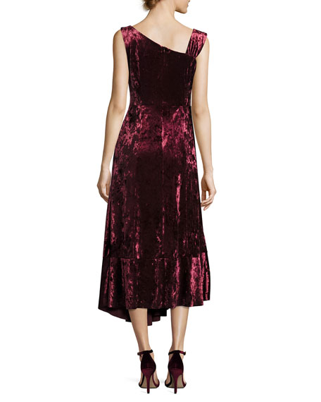 Vixen Asymmetric-Neck Sleeveless Velvet Dress