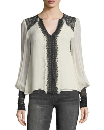 Henrietta Split-Neck Silk Blouse w/ Lace