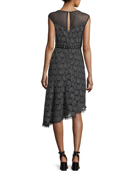 Beatrice Sweetheart-Neck Paisley Jacquard Dress