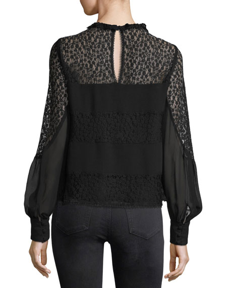 Jezebel Long-Sleeve Semi-sheerChiffon Blouse