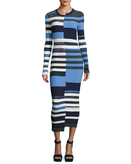 Bias-Cut Striped Space-Dye Maxi Sweater Dress