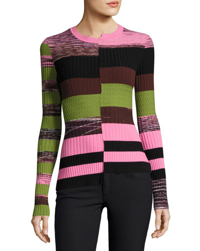 Space-Dye Long-Sleeve Bias-Cut Knit Top