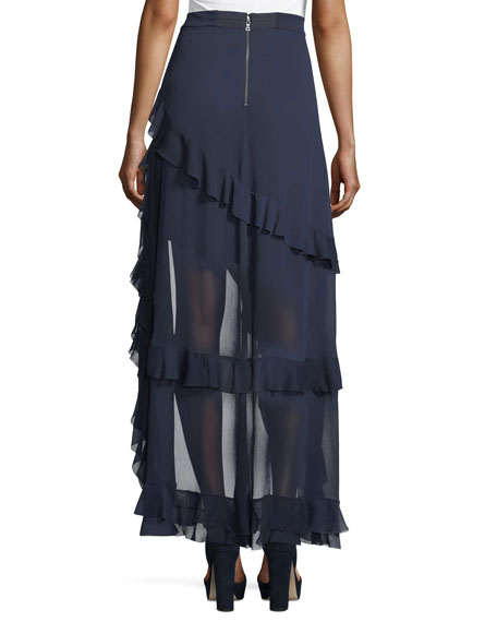 Lavera Asymmetric Layered Ruffled High-Low Skirt