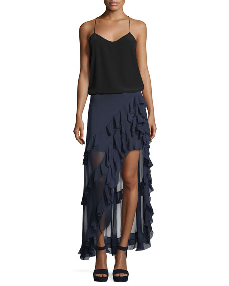 Lavera Asymmetric Layered Ruffled High-Low Skirt