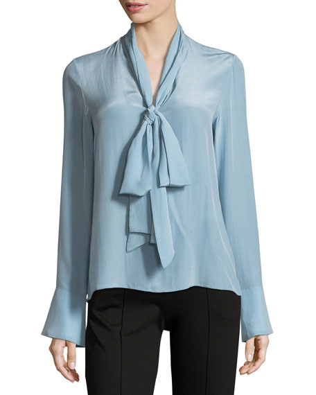 Wesley Long-Sleeve Bow-Neck Silk Blouse