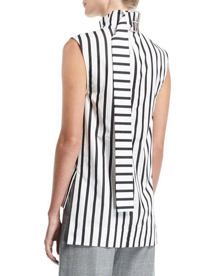 Odila Mock-Neck Sleeveless Striped Cotton Top