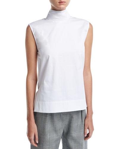 Odila Mock-Neck Sleeveless Cotton Top