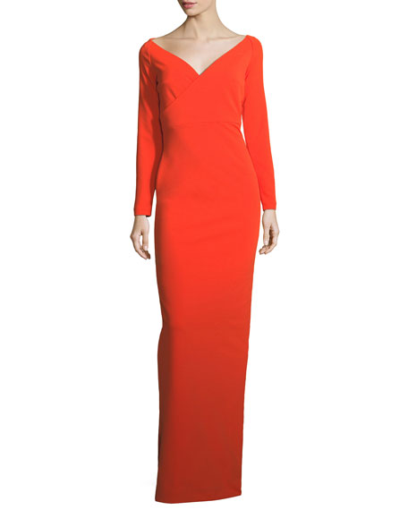 Victorie V-Neck Long-Sleeve Column Evening Gown
