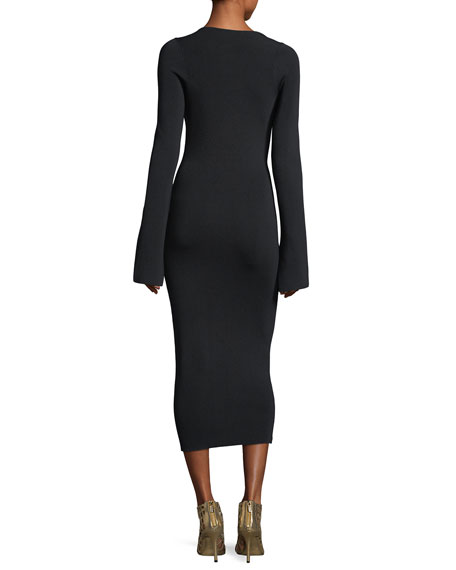 Sayen Wide-Neck Long-Sleeve Fitted Cocktail Midi Dress