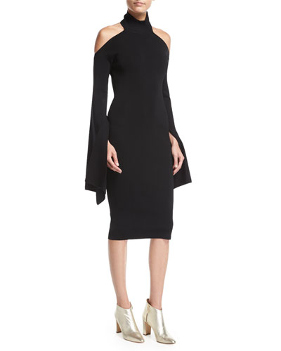 Kai Turtleneck Bell-Sleeve Fitted Midi Cocktail Dress