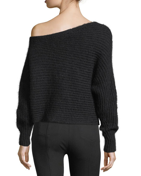 One-Shoulder Chunky Mohair Marled Pullover Sweater